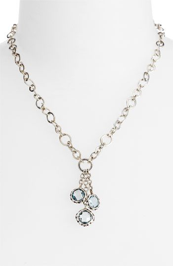 Lois Hill 'Sky Blue Topaz' Triple Charm Drop Necklace
