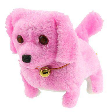 Gino Pink Plush Neck Bell Walking Barking Electronic Dog Toy Gift