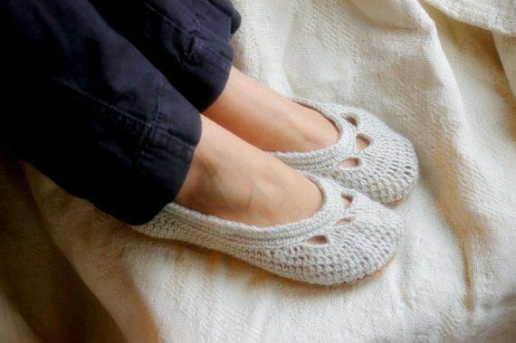 Crochet Pattern For Womens House Slipper The Adult Yoke Ballet Flat PDF Pattern Number 110 on Luulla