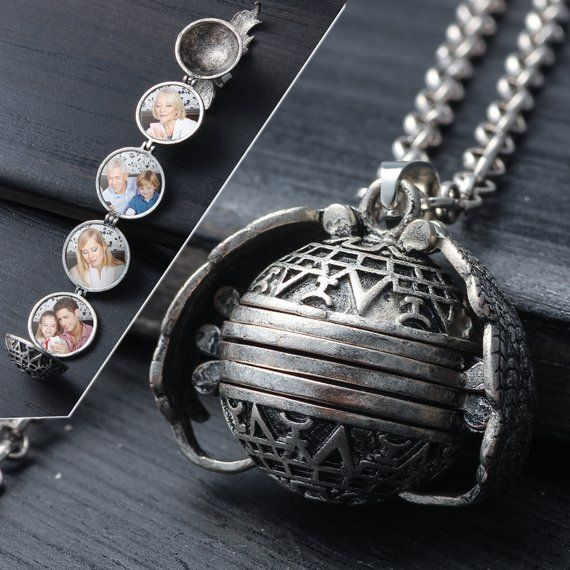 Personalized Photo Gift Custom Photo Locket Necklace 4 Picture Pendant Necklace For Women Antique Si