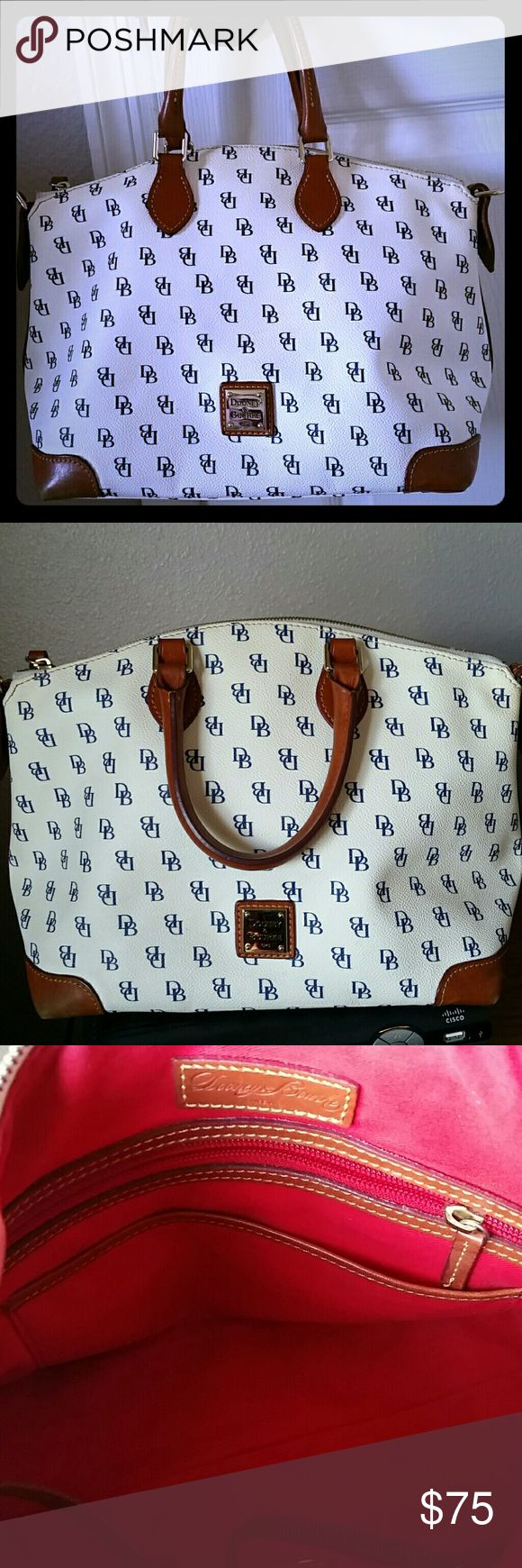 Dooney and Bourke Bag White Pebbled Leather with Navy DB Lettering Douney And Bourke  Bags Satchels