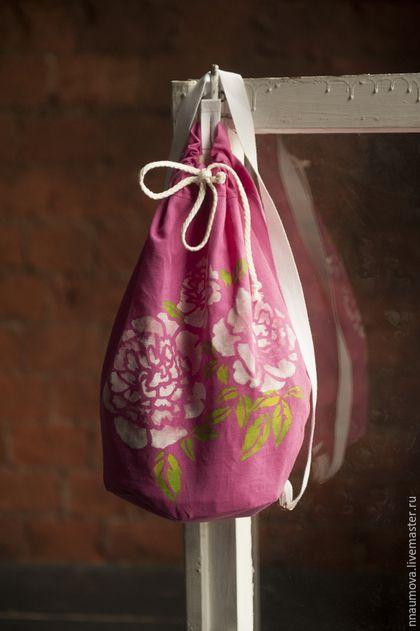 Рюкзаки ручной работы. Ярмарка Мастеров - ручная работа. Купить Рюкзак летний с принтом. Handmade. Фуксия, пионы, хлопок 100% пион