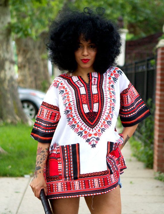 Unisex Dashiki White Pink Coral Red African Shirt by tribalgroove