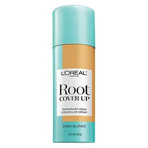 The brand-new, Root Cover Up spray (in shade Dark Blonde). Root Touch Ups in 3 seconds for flawless hair in between coloring.