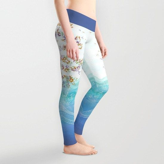 Leggings Yoga Printed Whale Ocean Nautical Sea Running Gym, 5 sizes,  Blue and White Pants Spandex Tights Womens Gift Women Designer Sport