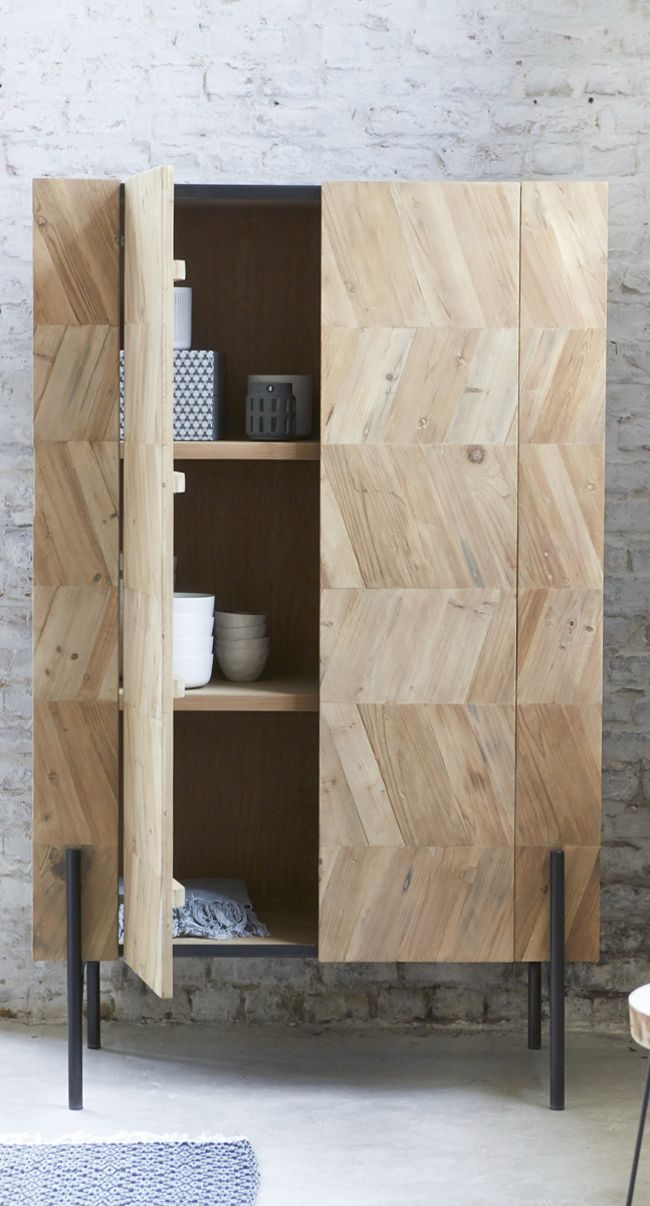 Simple, Scandi-style wardrobe with natural wood finish and metal legs