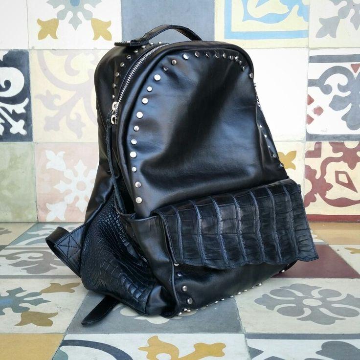 Black stylish alligator crocodile exclusive design limited edition backpack