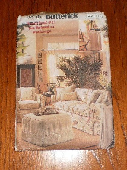 Uncut Butterick Home Decor Pattern #6858, Waverly Design, Sew Slipcovers For Sofa, Chair, Ottoman, Table Topper, Pillow Cover by TheShoppingMoll on Etsy