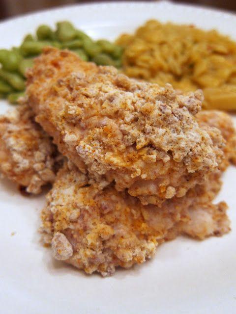 Crunchy Pecan Chicken Tenders - chicken coated in buttermilk, cajun seasoning, bisquick and pecans. SO delicious!