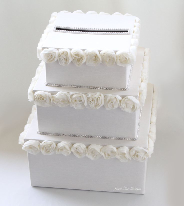 Wedding Money Box Card Box Gift Card Holder - Custom Made to Order. $125.00, via Etsy.  OR ----- stack 3 boxes and smear spackle for frosting    put spackle in frosting bag  and make flowers.   attach.  it hardens and is beautiful