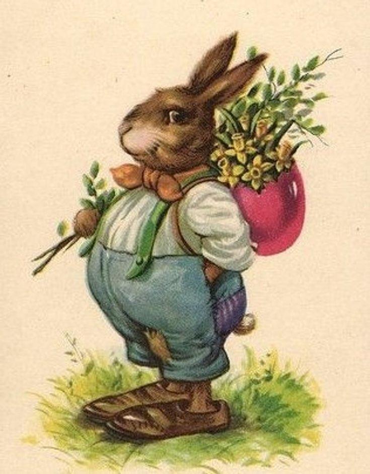 Картинка, старинные пасхальные открытки с кроликами