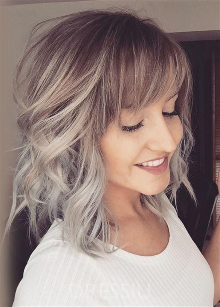 Gradient Color Capless Women Human Hair Blend Wigs Kinky Curly Wigs 14 – dress…