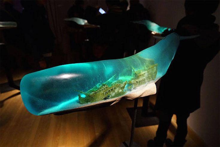 Wonderful Ocean Scenes Inside Translucent Whale Sculptures