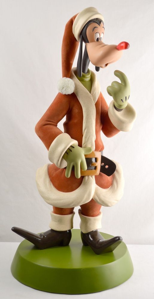 Large Disney Goofy Christmas Store Display Statue Light Up Nose Wooden Base