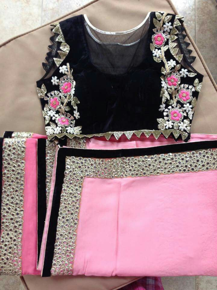 Black with pink flower embroidery.. get it at myTailor. in