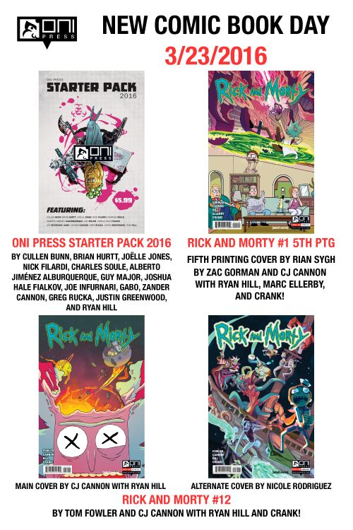 onipress:  Its New Comic Book Day tomorrow! Out this week is:  ONI PRESS STARTER PACK 2016 200 pages of seven #1s from these flagship titles (only $5.99!):    THE SIXTH GUN #1 by @cullenbunn and @brihurtt  LETTER 44 #1 by @charlessoule and Alberto Jiménez Alburquerque with Guy Major and Shawn Depasquale  THE BUNKER #1 by @joshfialkov and @joeinfurnari  STUMPTOWN #1 by @ruckawriter and @justingreenwood with Ryan Hill and Crank!  HELHEIM #1 by @cullenbunn and @joellejones with Nick Filardi and…