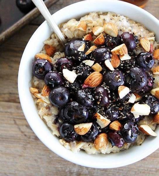 maple roasted blueberry almond oatmeal.
