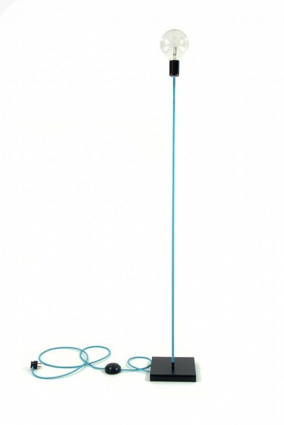 Lampa podłogowa loft design kolorowe kable w oplocie turkusowym