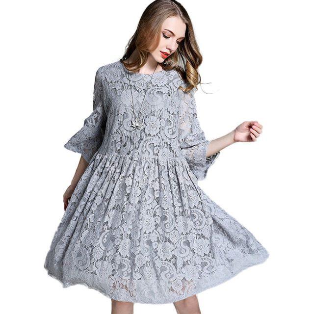 Swing Flared Oversize Babydoll Lace Dress Plus Size Women Clothing Three Quarter Sleeve Midi Dresses Grey Blue xl-4xl
