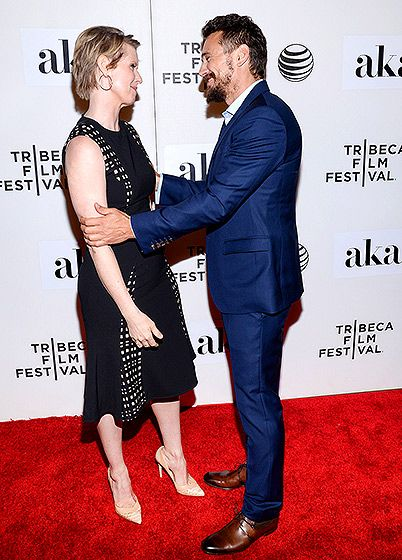 Cynthia Nixon and James Franco shared a friendly moment at the Tribeca Film Festival premiere of The Adderall Diaries at BMCC Tribeca Performing Arts Center on April 16 in New York City.