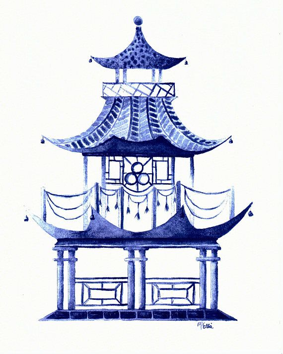 Originally drafted blue pagoda to fit any chinoiserie interior. Be instantly chic and admired by all of your friends when they see this beaut hanging on the wall. ~Please note that colors in the print you receive may vary slightly from images on your monitor. ~Ready to Frame (Frame