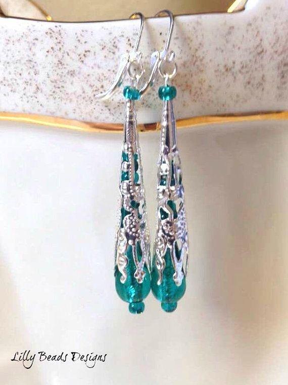 Dangle Earrings,Teal Drop Earrings,Teardrop Earrings,Silver Earrings,Czech Earrings,Green Earrings,Glass Earrings,Filigree Earrings