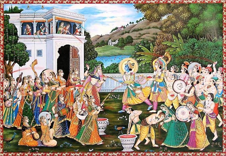 Krishna Playing Holi with Radha and Gopinis (Reprint on Paper - Unframed))