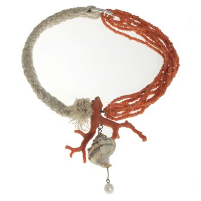 Necklace | Ateliers Symbios (Thierry Arabia/Eliane Amalric) Coral, shell, rope and Akoya pearl
