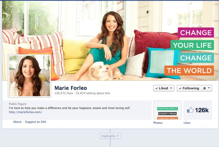 Must see Marie Forleo's Facebook cover. It is simple yet effective for her brand. Great color and typography