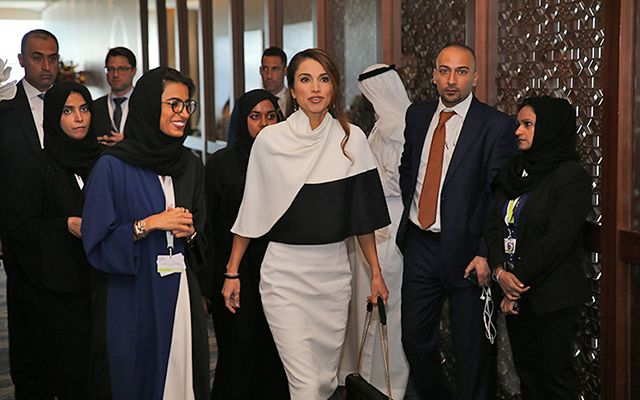 Queen Rania of Jordan opens Abu Dhabi Media Summit 2014 wearing Derek Lam
