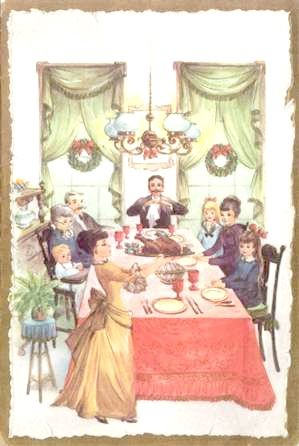 Vintage Antique Thanksgiving Clip Art Greeting Card Family At The Table Turkey Dinner Scene
