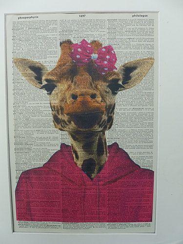 Giraffe Dictionary Wall Print No.97 giraffe art by DecorisDesigns