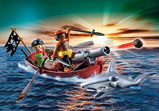 Pirates Rowboat with Shark - 5137 - PLAYMOBIL® United Kingdom. £15.