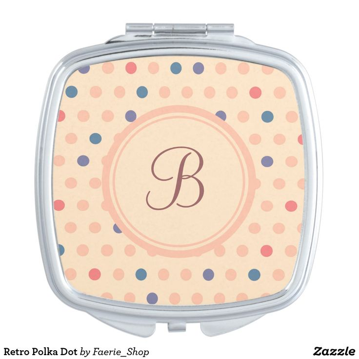 Retro Polka Dot Compact Mirror #faerieshop #vintage #circle #polka #dot #trendy #pattern #retro #monogram #geometric #monogram #style #simple #abstract #old #design #beige #peach #red #blue #beautiful #fashion #modern #print #background #sale #zazzle #monogram #edit #customizable #gift #present