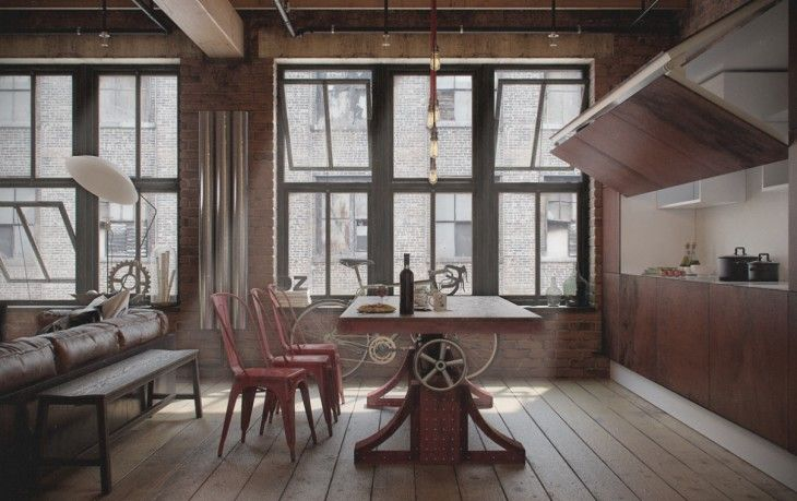 Creative Industrial Dining Room - pictures, photos, images