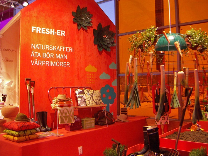 """Fresh"" was the theme for trend zone at Formex 2013. Made by the Swedish Fashion council (Svenska Moderådet ). Featured e.g. garden hats from La Maison Afrique FAIR TRADE."