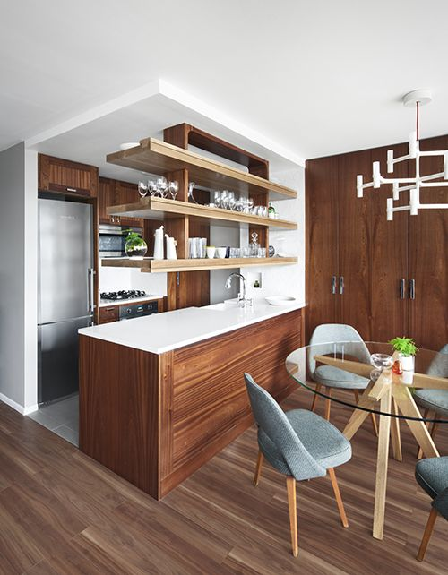 Open Kitchen and Dining Room with Custom Sapele and Oak Suspended shelving