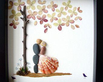 Wedding Gift Pebble Art-Unique Engagement Gift- Unique Wedding Present- COUPLE's Gift- Love Gift- Bride and Groom Gift- Pebble Art