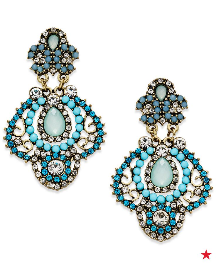 """These ABS by Allen Schwartz chandelier earrings make for beautiful beachy wedding jewelry and can be your """"something blue."""""""