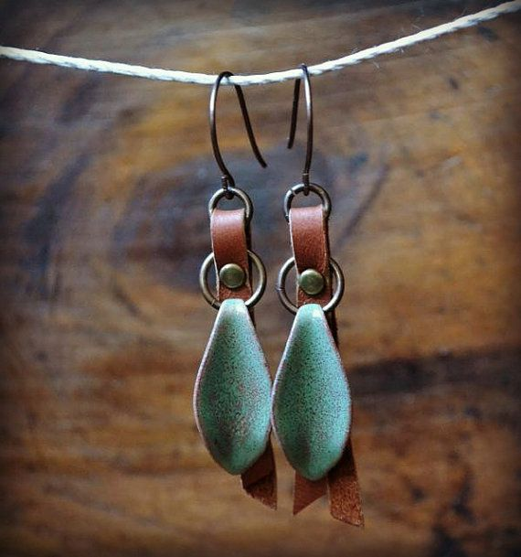Enameled Petals and Riveted Leather by LoreleiEurtoJewelry on Etsy, $28.00