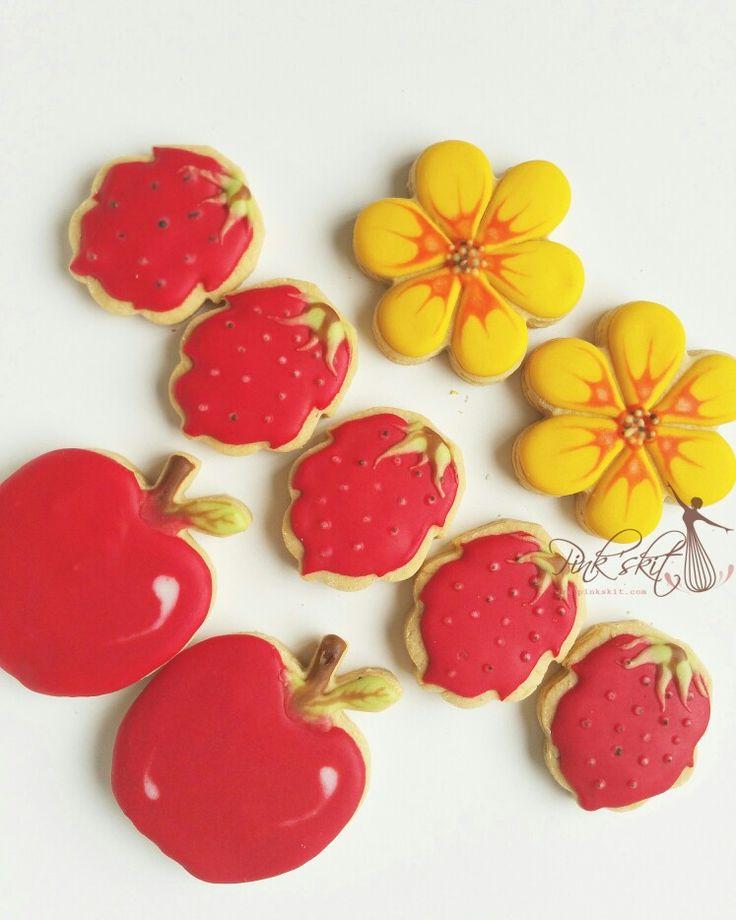 Apple, strawberry , apricot blossom