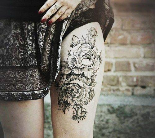 Flower Nature Tattoo: Flower Thigh #Tattoo
