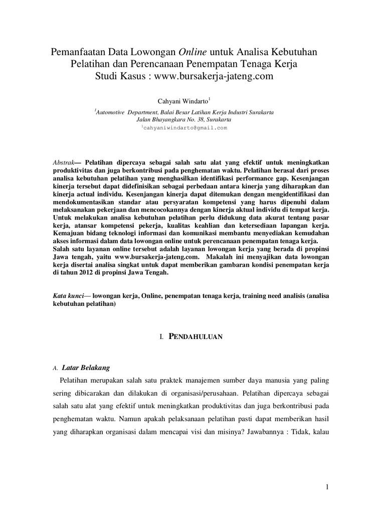pemanfaatan-data-lowongan-online-untuk-analisa-kebutuhan-pelatihan-dan-merencanakan-penempatan-tenaga-kerja by Cahyani Windarto via Slideshare