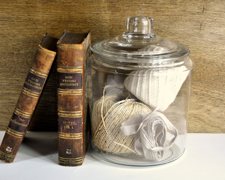 Vintage Large Glass Apothecary Jar | String