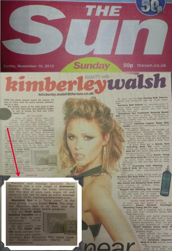 Sunday Sun Newspaper Featuring The MRL Aromawax Candles