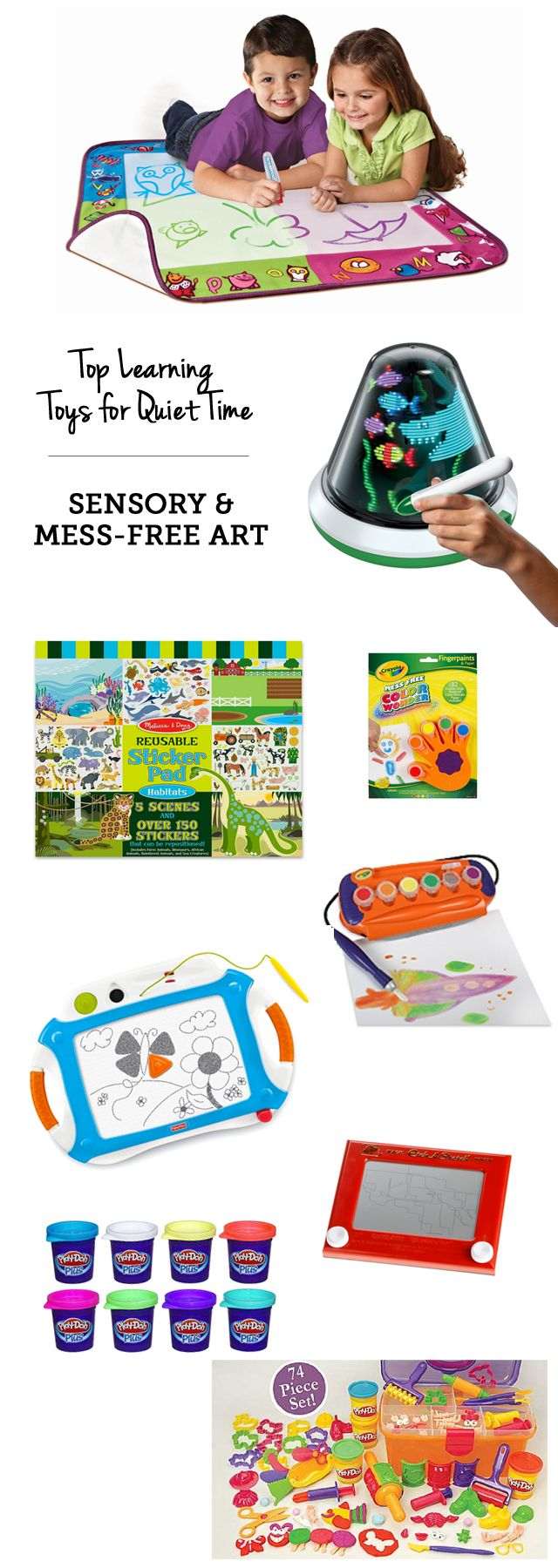 Keep kiddos busy with these educational toys- Top learning toys for quiet time: mess-free art supplies via MPMK