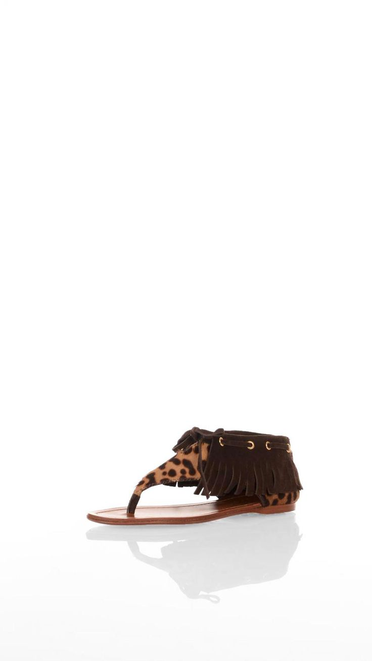 Car SHoe Suede and pony hair flip flop