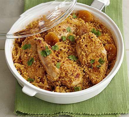 Harissa-spiced chicken with bulghar wheat