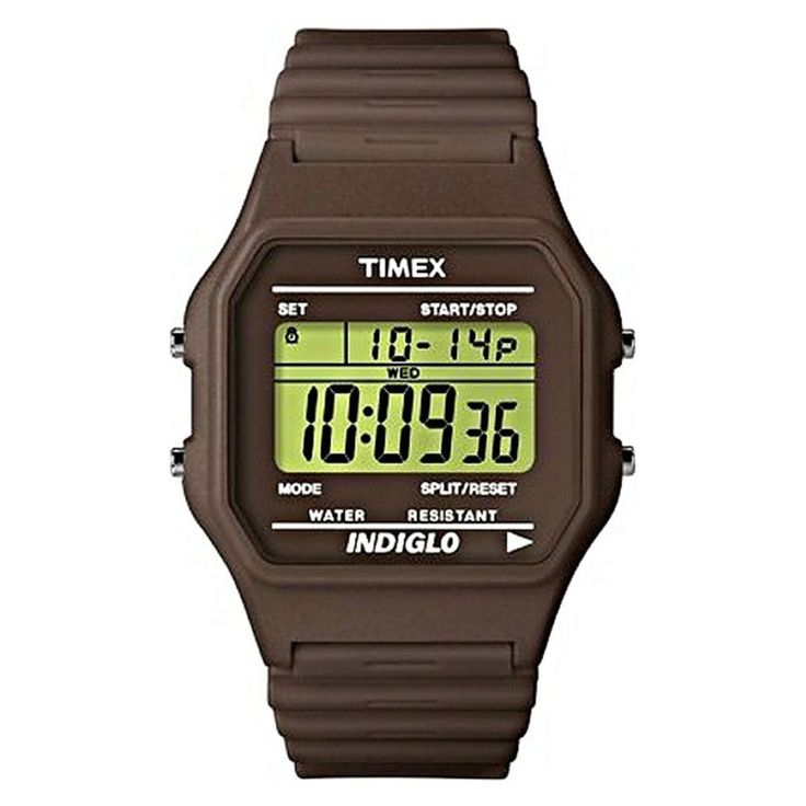 Timex T2N212 Women's Indiglo Grey Dial Brown Rubber Strap Alarm Chronograph Digital Watch