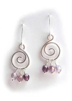 Silver Spiral Earrings - Purple  £9.00  Handcrafted silver plated (non-tarnish) earrings with amethyst, amethyst/pink and light amethyst facted glass beads on handmade silver plated earwires.
